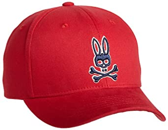 Psycho Bunny Men's Large Bunny Baseball Cap, Red, One Size