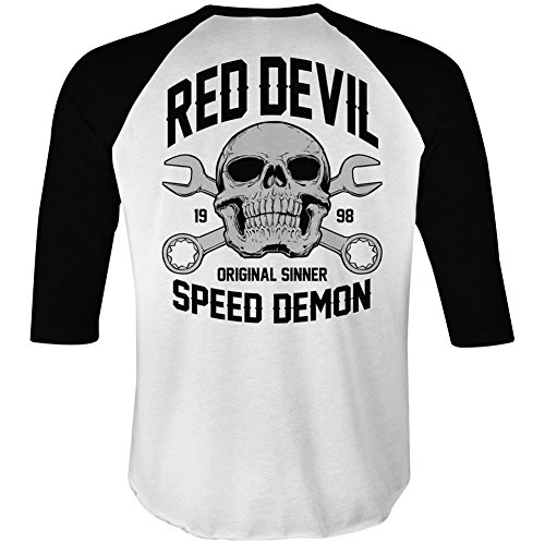 Men's Red Devil Clothing Speed Demon Raglan T-Shirt White/Black XL (Red Devil Clothing compare prices)