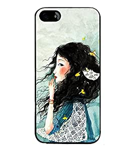 Fuson Premium 2D Back Case Cover Cute hairy girl With Purple Background Degined For Apple iPhone 4::Apple iPhone 4S