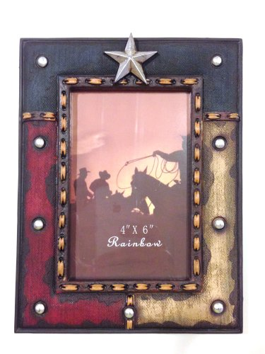 Texas Lone Star Western Decor Red White & Blue 4X6 Photo Frame front-629638