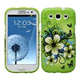 Fosmon MATT Series Rubberized Design Case for Samsung Galaxy S III i9300 / ATT SGH-i747 / Verizon SGH-i535 / T-mobile SGH-T999 / Sprint SPH-L710 - Green Flower