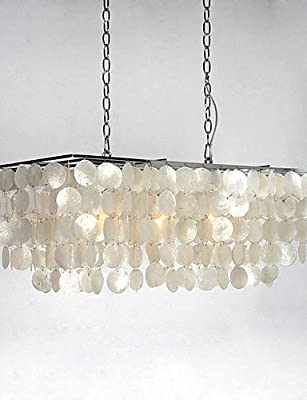 "qiuxi High-end fashion Interior Ceiling lamp Shell Rectangular Chandelier 30"" , 110-120v"