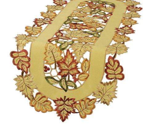 Xia Home Fashions Bountiful Leaf Embroidered Cutwork Table Runner, 15 By 72-Inch front-518530