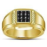 Vorra Fashion Black Nine Stone CZ Band Ring 14k Gold Plated 925 Sterling Silver For Men's