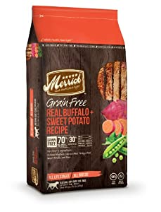 Merrick Grain Free 25-Pound Real Buffalo and Sweet Potato Dog Food, 1 Bag