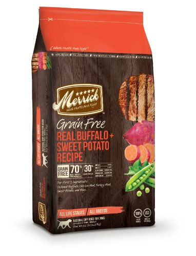 Merrick Grain Free 25-Pound Real Buffalo And Sweet Potato Dog Food, 1 Bag