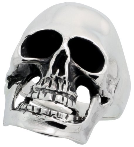 Sterling Silver Biker Skull Ring (28 mm) wide, Size P