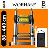 WORHAN® 4.4m (14' 4'') Double Telescopic Foldable Extendable Multipurpose Aluminium A Frame Robust Ladder Step Ladder (..4.4m B-line & bag) K4.4B