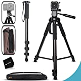 Durable Pro Grade 75 inch Tripod + 72 inch Pro Monopod W/ Convenient Backpack style Carrying Case for Nikon D7200, D7100, D750, D5300, D5200, D5100, D3300, D3200, D3100 D810A, D810, D800, D610, D600, D4S, D3s, D3x DSLR Cameras