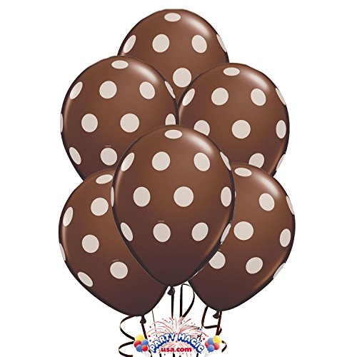 "11"" Brown Big Polka Dot (12) Latex Balloons"