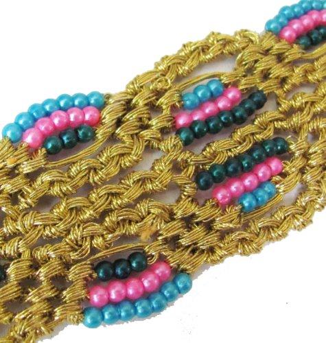 4 Yards Metallic Gold Beaded Ribbon Trim New