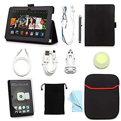 ARION 11-Item Accessory Bundle Kit for Amazon Kindle Fire & iPad Tablets - Standing PU Leather Case, Screen Protector, Cleaning Cloth, Stylus Pen,Car Charger,USB Cable, Aux Cable, Earphone, Wire-holding Box, Sleeve Case, Drawstring Travel Pouch
