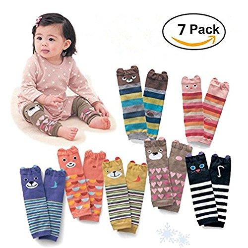 Cute Animal Theme Unisex Leg Sleeve Warmers Socks Leggings Baby Girls Boys Toddler Knee High Stockings for Crawling Baby Socks Leg Warmers - Knee Socks Protector Warmer (7 pack)