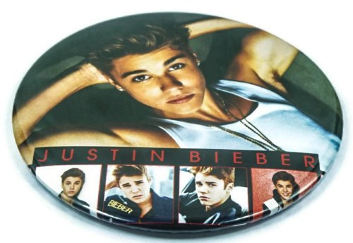 "Justin Bieber Fan (6) Awesome 3-In-1 Features Jumbo 3.75"" Pin Stand Button Badge"