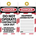 """NMC LOTAG32 """"DANGER - DO NOT OPERATE CONTRACTOR LOCK-OUT"""" Lockout Tag, Unrippable Vinyl, 3"""" Length, 6"""" Height, Black/Red on White (Pack of 10)"""