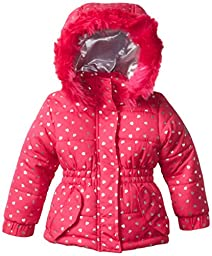 Weatherproof Baby Girls\' Pongee Puffer Jacket with Silver Heart Foil and Faux Fur Trim Around Hood, Pink Rose, 12 Months