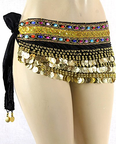 Black Gold Coins Velvet Rave EDC Belly Dance Skirt Hip Scarf Costume 193 coins