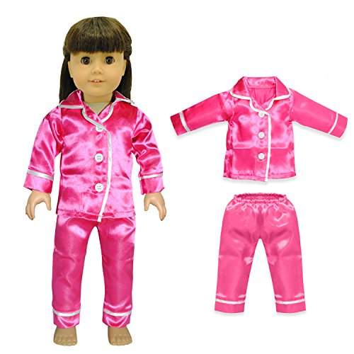 Doll Clothes - Pink Satin Pj'S Pajama Set Outfit Fits American Girl Dolls, Madame Alexander And Other 18 Inches Dolls front-171222
