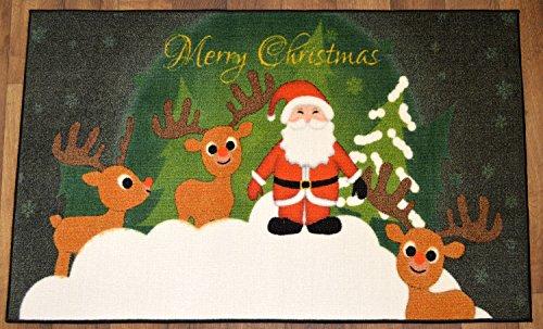 "Christmas Doormat Non Slip Rectangular 24"" x39"" Xmas Deer And Santa Design Bathroom Rugs Non Flammable Mat Rug"