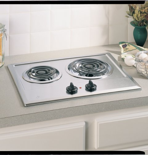 GE : JP201CBSS 21in Electric Cooktop, 2 Coil Elements, Removable Drip Bowls - Stainless Steel