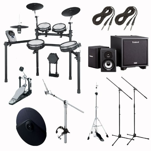 Roland Td15Kvs Electronic Drum Kit With Monitor System, Stands, Pedal And Additional Cymbal Bundle