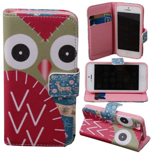 Teenitor(Tm) Cute Owl With Deer Credit Card Wallet Flip Leather Case (Soft Tpu Inner) For Iphone 5, 5S + Screen Protector + Stylu + Fish Earphone Cable Organizer