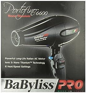 BaByliss Pro BABNT6610 Portofino 6600, 2000-Watt Nano Titanium Ionic Hair Dryer, Black
