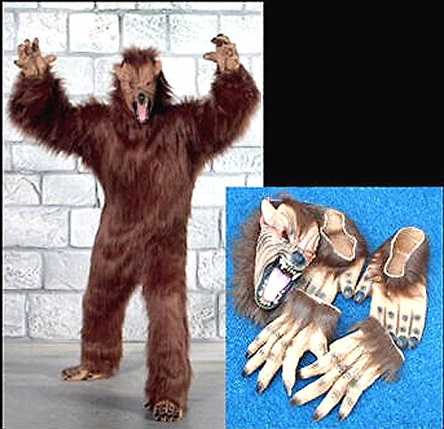 Professional Werewolf Adult Costume with Wolf Mask Feet Hands