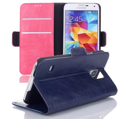 Pioneer Tech® Leather Wallet Flip Cover Stand Case For Samsung Galaxy S5 I9600 -Oil Skin (Wld-Blue)