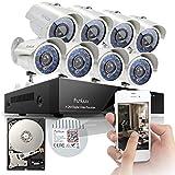Sistema de cámaras de seguridad de vigilancia Funlux 8 canales, vista rápida, 960H DVR construido en infrarrojos  8X700TVL, resistentes al agua, alta resolución de salida de día y de noche.