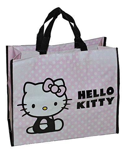 Shopper / Tragetasche / Umhängetasche - Hello Kitty - Kindertasche Tasche Stoff für Mädchen Tragetasche Beutel Einkaufstasche - beschichtet und abwischbar - Strandtasche Reisetasche Katze
