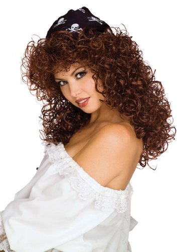 Rubie's Costume Pirate Vixen Long Curly Wig, Brown, One Size Pirate Costume Wig