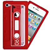 IGloo Premium: Retro Cassette Tape Silicone Skin Case Cover for Apple iPhone 4 / 4G / 4S - Red