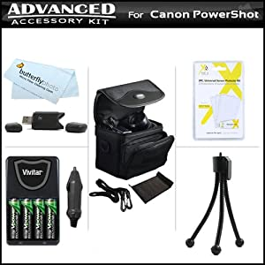 Accessory Kit For Canon PowerShot SX160 IS, SX160IS, SX130 IS SX130IS SX150IS SX150 IS Digital Camera Includes USB 2.0 High Speed Card Reader + 4AA High Capacity Rechargeable NIMH Batteries + AC/DC Charger + Deluxe Carrying Case + Screen Protectors + More