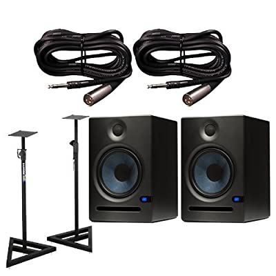 PreSonus Eris E8 Active Studio Monitors w Speaker Stands and TRS to XLR-Male Cables by PreSonus