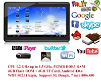 "7"" inch LélikTec A13 Capacitive Touch Screen Allwinner 1.0GHz CPU (up to 1.5GHz maximum) Processor Android 4.0.4 (Ice Cream Sandwich OS) Tablet PC 4GB HDD 512MB WiFi MID Epad PREINSTALLED UK Apps- BBC Iplayer, Flash Player 11.1, Youtube, Facebook, Google"