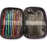 22 Multi-colour Aluminum Crochet Hooks Needles Yarn Weave Knit Craft Set w/ Case(22pcs)
