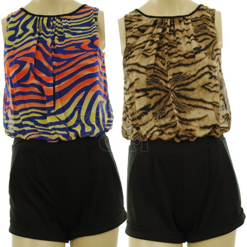 Rylie New Womens Animal Print Chiffon Upper Ponte Short Tie Back Ladies Playsuit