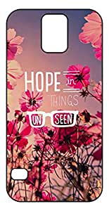 Hope in The Things Unseen Quotes with Red Flowers Background Design Soft TPU Phone Case for Galaxy S5 (2D, Black)