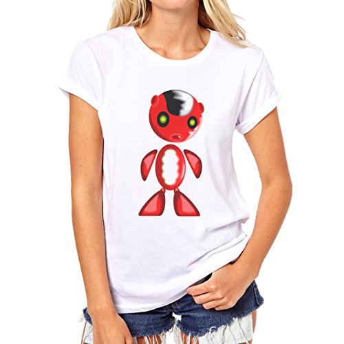 Robot Metal Cyborg Cartoon Red Black Hair Small Donne T-Shirt