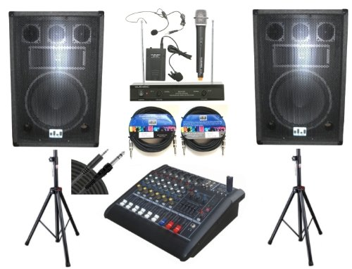 "Complete Professional 2000 Watts Complete Pa System 6 Channel Power Mixer 12"" Speakers Dual Wireless Microphone Stand"