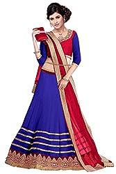 60gmGeorgette Unstiched Party Wear Lehenga Choli (L13-25006_Blue)