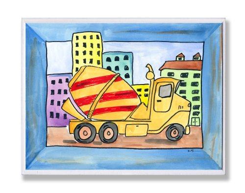 The Kids Room by Stupell Red and Yellow Cement Truck with Blue Border Rectangle Wall Plaque