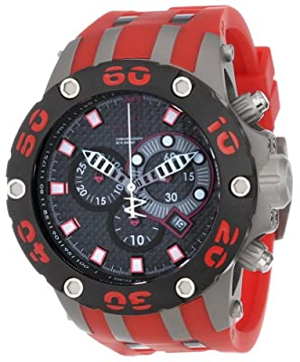 Jason Taylor for Invicta Collection 12949 Reserve Chronograph Black Carbon Fiber Dial Red Polyurethane Watch