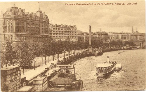 1910 Vintage Postcard Thames Embankment and Cleopatra's