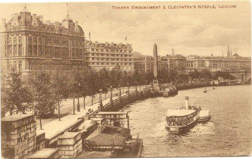 1910 Vintage Postcard Thames Embankment and Cleopatra's