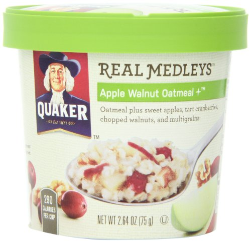 Quaker Real Medleys Apple Walnut Oatmeal +, (Pack Of 12)