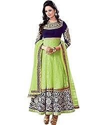 RV Creation Designer Stylish Fancy Green Color Anarkali Dress