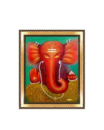 Sanjay Punekar Ganesha Framed Canvas Print