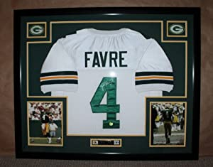 Brett Favre Autographed Signed and Framed White Packers Jersey Auto Favre Certified... by Premier+Sports+Collectibles